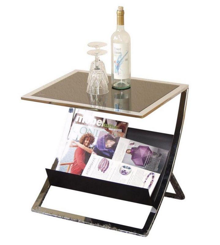 beistelltisch mit schwarzer sicherheitsglasplatte und. Black Bedroom Furniture Sets. Home Design Ideas