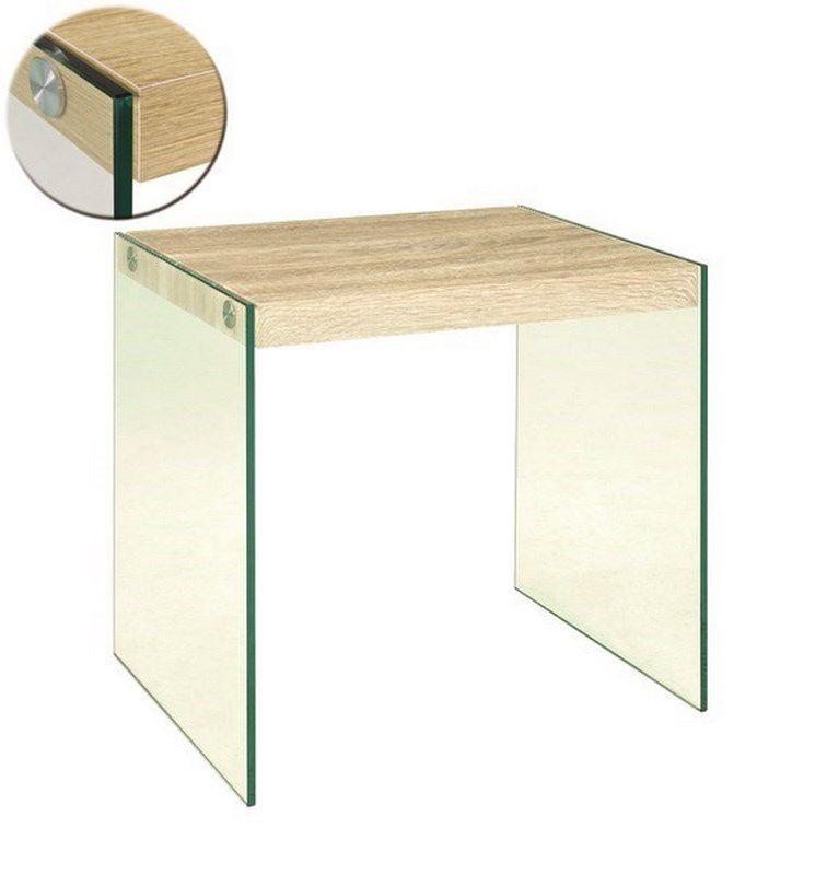 haku beistelltisch sicherheitsklarglas ablage mdf dekor eiche hell. Black Bedroom Furniture Sets. Home Design Ideas