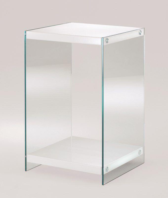haku konsole sicherheitsklarglas ablagen mdf hochglanz wei pr. Black Bedroom Furniture Sets. Home Design Ideas