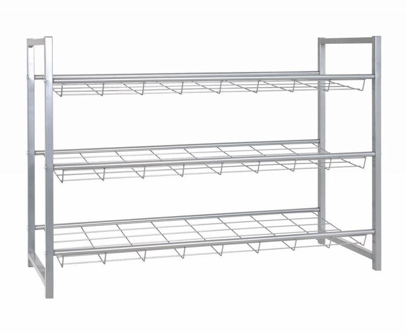 haku schuhregal aus alufarbenem stahlrohr 3 ablagen f r ca 12. Black Bedroom Furniture Sets. Home Design Ideas