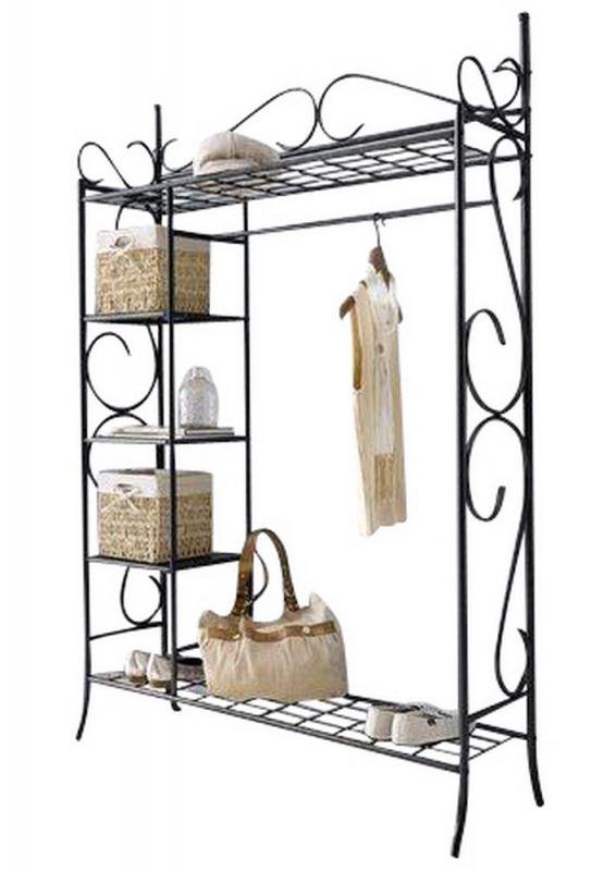 landhaus metallgarderobe garderobe in schwarz 139 00. Black Bedroom Furniture Sets. Home Design Ideas