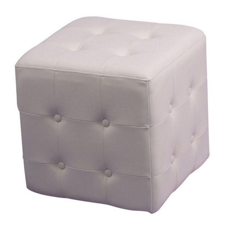 sitzw rfel in lederoptik mit knopfsteppung in wei 48 90. Black Bedroom Furniture Sets. Home Design Ideas