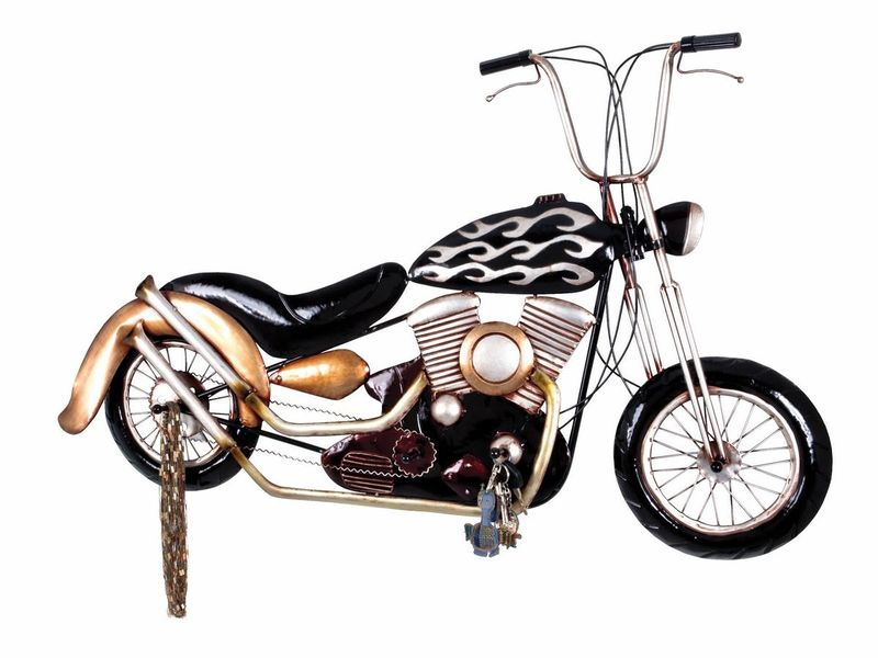 haku wandgarderobe aus metall in 3d vintageoptik motorrad. Black Bedroom Furniture Sets. Home Design Ideas