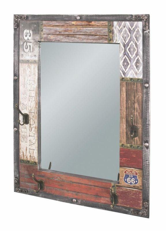 haku wandgarderobe aus mdf in vintageoptik mit spiegel und 4 garderob. Black Bedroom Furniture Sets. Home Design Ideas