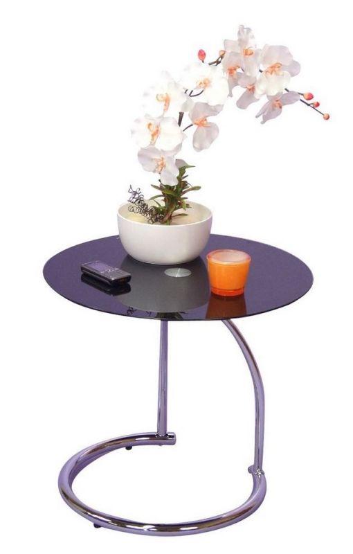 beistelltisch rund verchromt mit schwarzer glasplatte 61 90. Black Bedroom Furniture Sets. Home Design Ideas