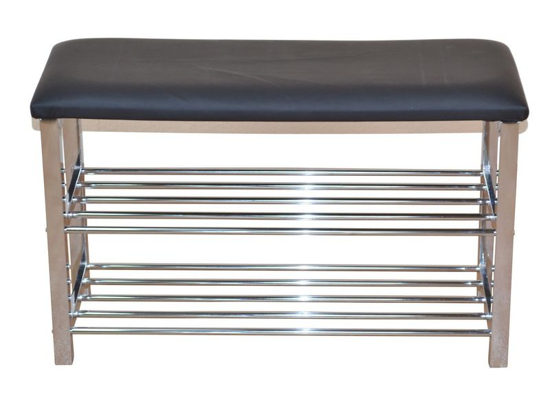 Schuhregal sitzbank schwarz verchromt 57 cm breit 63 for Schuhregal 40 cm breit