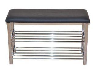 schuhregal sitzbank schwarz verchromt 80 cm breit ichverkaufeall 76 90. Black Bedroom Furniture Sets. Home Design Ideas