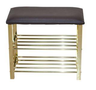 schuhregal sitzbank mocca messingfarben 57 cm breit. Black Bedroom Furniture Sets. Home Design Ideas