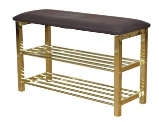 schuhregal sitzbank mocca messingfarben 80 cm breit 76 90. Black Bedroom Furniture Sets. Home Design Ideas
