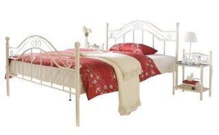 Metallbett Doppelbett In Weiß Pulverbeschichtet 180 X 200 Cm