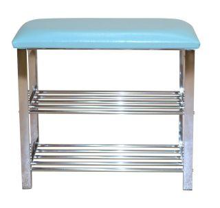 schuhregal sitzbank in t rkis chromfarben 57 cm breit. Black Bedroom Furniture Sets. Home Design Ideas